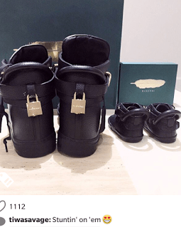 Tiwa Savage And Son Get Matching Sneakers [See Photo]